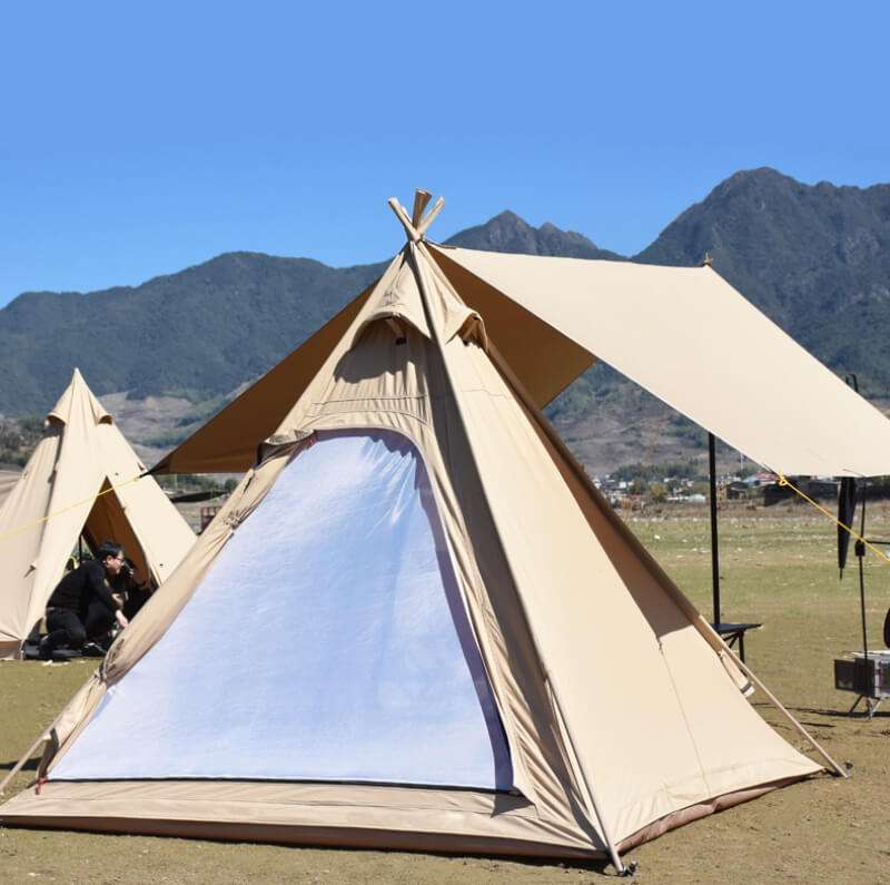 Wise Tents® Outdoor Pyramid Cotton Teepee Tent - 3-4 Persons 1