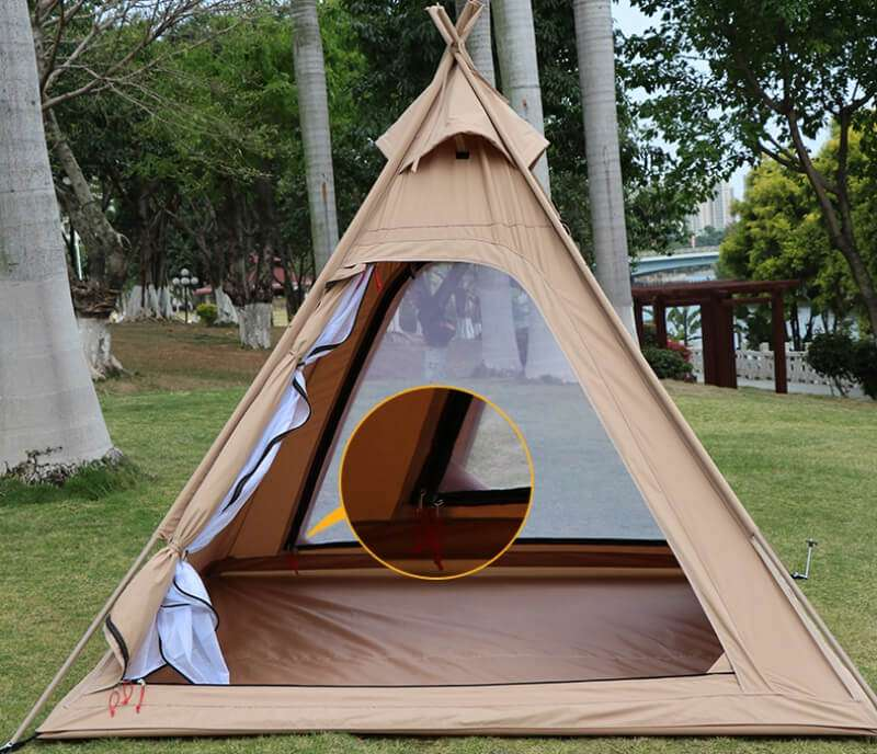 Wise Tents® Outdoor Pyramid Cotton Tent Teepee - 3-4 Persons