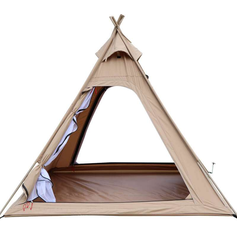Wise Tents® Outdoor Pyramid Cotton Teepee Tent - 3-4 Persons 5