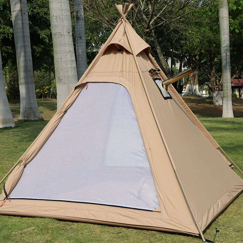 Wise Tents® Outdoor Pyramid Cotton Teepee Tent - 3-4 Persons 3