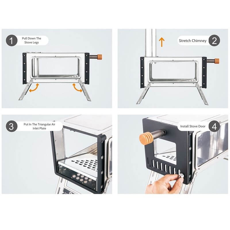 Mars – S3 Two Sides Glass Window Mini Wood Stove For Hot Tent Camping - Wise Tents® 3