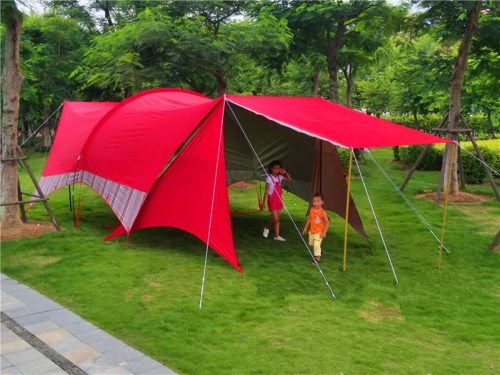 double frame rods outdoor sunshade awning camping tent with canopy